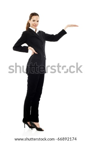 Young businesswoman with hand raised on white background studio