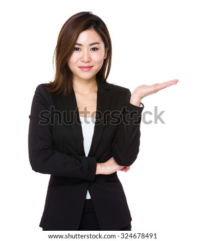 Young Businesswoman with hand showing blank sign