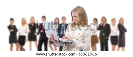 young businesswoman with her laptop on white background - stock photo