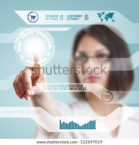Young businesswoman with interface, digital concept - stock photo