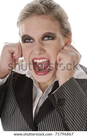 Young businesswoman with lip piercing in a gray business suit and high heels young woman touches his head and has a headache, isolated on a white background