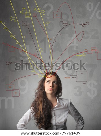 Young businesswoman with many ideas coming out of her head