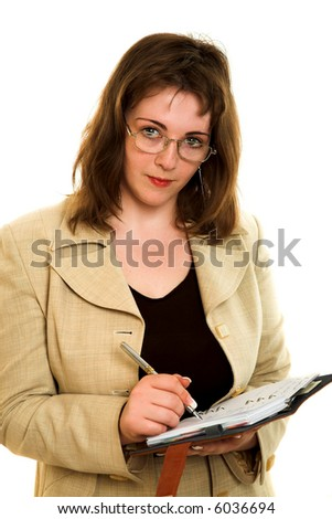 young businesswoman with notebook isolated on white background