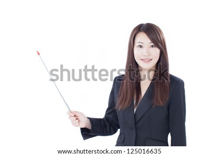 Young businesswoman with pointer, isolated on white background - stock photo