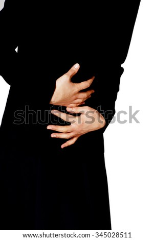 Young businesswoman with strong stomach pain. - stock photo