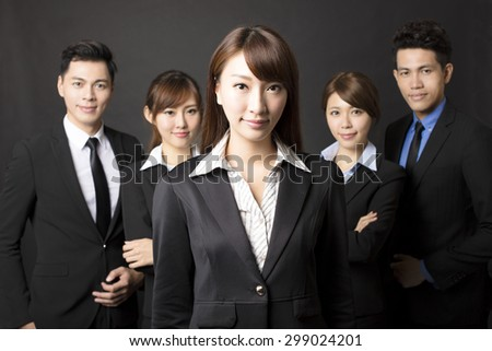 young businesswoman with successful business team  - stock photo