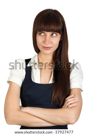 young businesswoman with suspicious  or inquisitive facial expression - stock photo