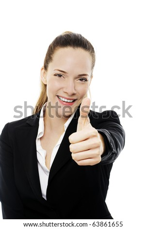 Young businesswoman with thumb up on white background studio