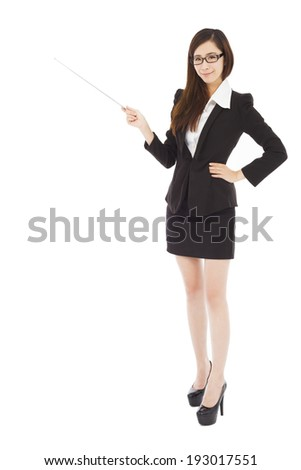young businesswoman wore a glasses and holding a baton