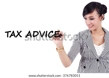 Young businesswoman writing a text of tax advice on whiteboard, isolated on white