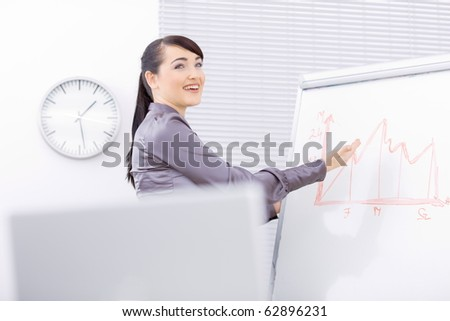 Young businesswomen doing presentation on whiteboard, showing a finacial graph, smiling. - stock photo