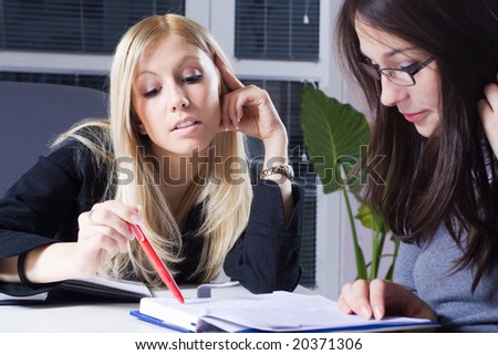 young businesswomen in training school - stock photo