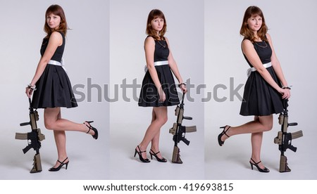 Young c�ute girl in black dress posing with gun on white background/Young girl posing with gun.Collage