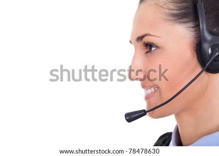 young call center employee wearing headset, close up,  on white background - stock photo