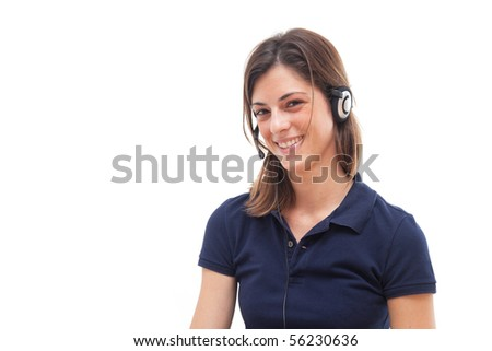 Young call center girl smiling - stock photo