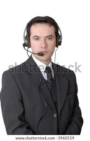 young call center man talking by the phone
