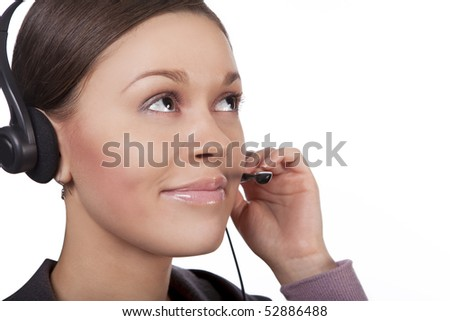 young call center operator girl with pretty round face answering on line isolated over white background