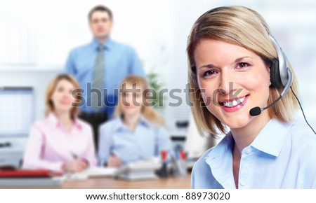 Young Call customer center operator woman with headset. - stock photo