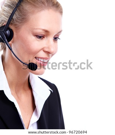 Young Call customer center operator woman with headset. Isolated on white background. - stock photo