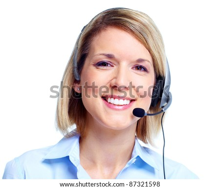 Young Call customer center operator woman with headset. Isolated over white background - stock photo