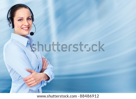 Young Call customer center operator woman with headset. Over blue background