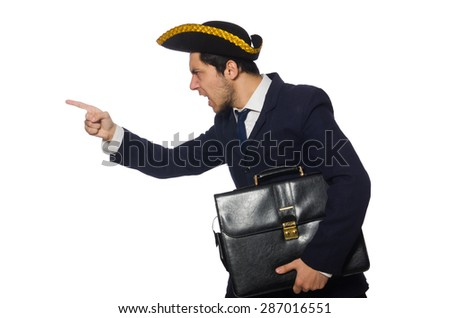 Young captain with briefcase isolated on white - stock photo