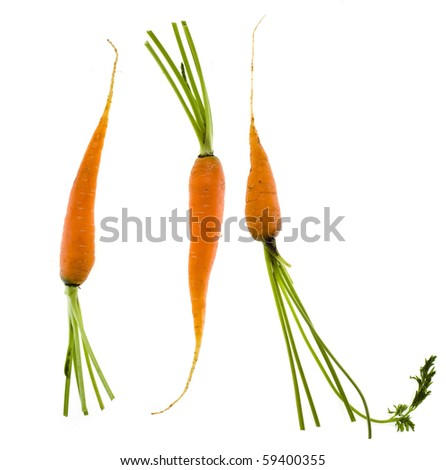 young carrot isolated over white - stock photo