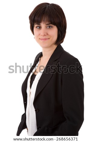 young casual beautiful business woman, isolated in white - stock photo