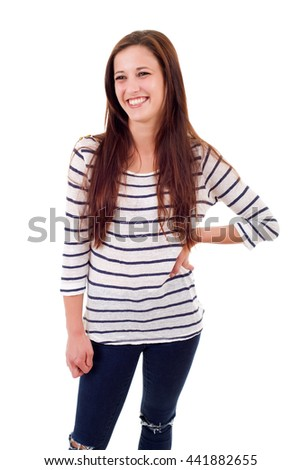 young casual beautiful woman, isolated in white - stock photo