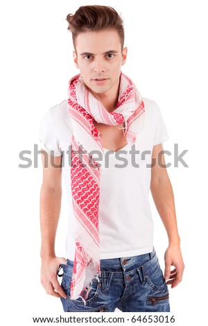 Young casual boy posing isolated - stock photo
