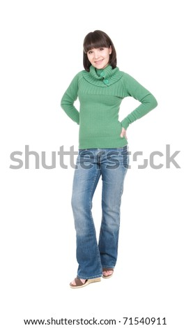 young casual brunette woman over white background - stock photo