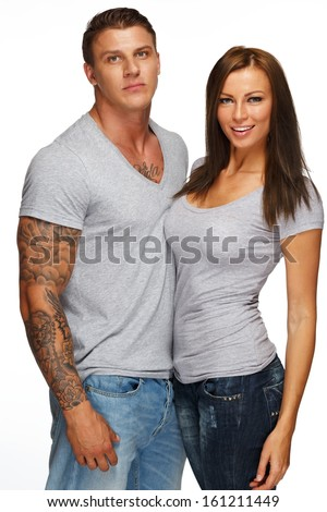 Young casual couple isolated on white  - stock photo