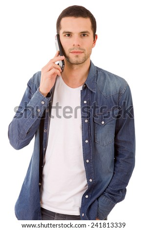 young casual happy man on the phone, isolated - stock photo