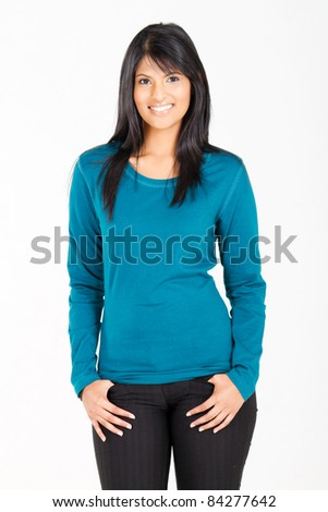 young casual hispanic woman on white background - stock photo