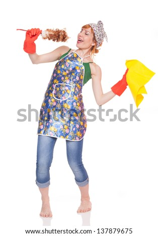 young casual lady holding wiper like microphone ans singing, isolated on white background - stock photo