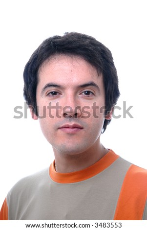 young casual male portrait isolated on white