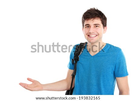 young casual male presenting something with a smile on his face against white background - stock photo