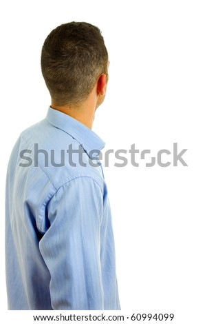 young casual man back in a white background - stock photo
