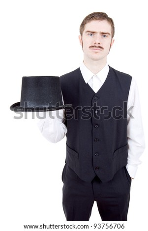 young casual man dressed as vintage groom, isolated