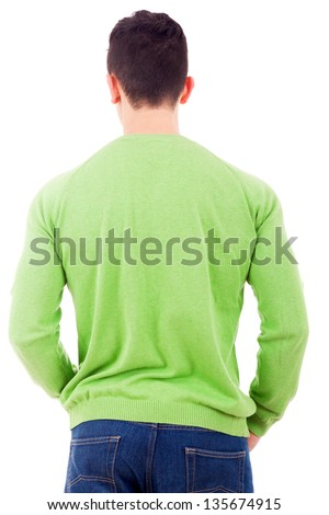 Young casual man from back, isolated on white background - stock photo