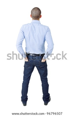 young casual man from the back, full body, isolated - stock photo