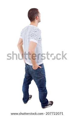 young casual man from the back looking, full body, isolated - stock photo