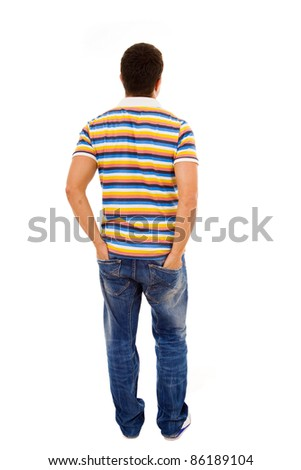 Young casual man full body from back with the hands in pockets , isolated on white - stock photo