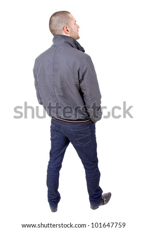 young casual man full body from behind, isolated