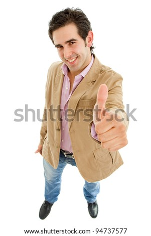 young casual man full body going thumbs up