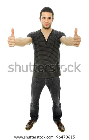 young casual man full body going thumbs up - stock photo
