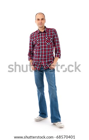 young casual man full body isolated on white background - stock photo