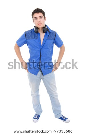 young casual man full length, isolated on white - stock photo
