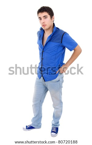 young casual man full length, isolated on white background - stock photo