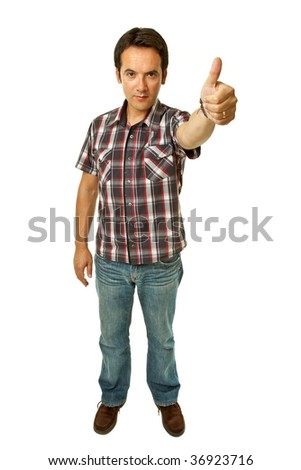 young casual man going thumb up in a white background